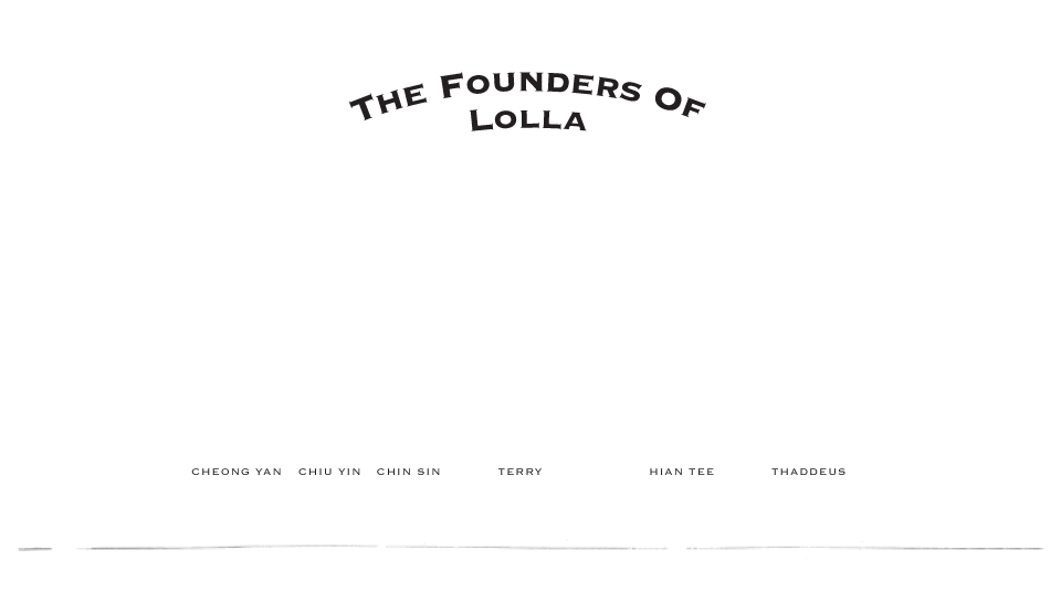 The founders of Lolla - Cheong Yan, Chiu Yin, Chin Sin, Terry, Hian Tee, Thaddeus